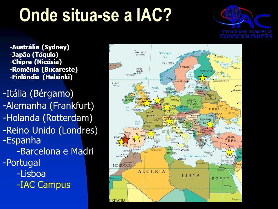 Onde situa-se a IAC? -Austrália (Sydney) -Japão (Tóquio) -Chipre (Nicósia) -Romênia (Bucareste) -Finlândia (Helsinki) -Itália (Bérgamo) -Alemanha (Fra