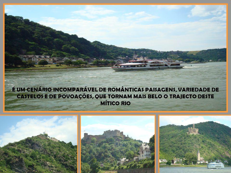 O RIO RENO, NO VALE DA RENÂNIA, DESMASCARA EM CADA MEANDRO, OS CASTELOS QUE O ESCOLTAM
