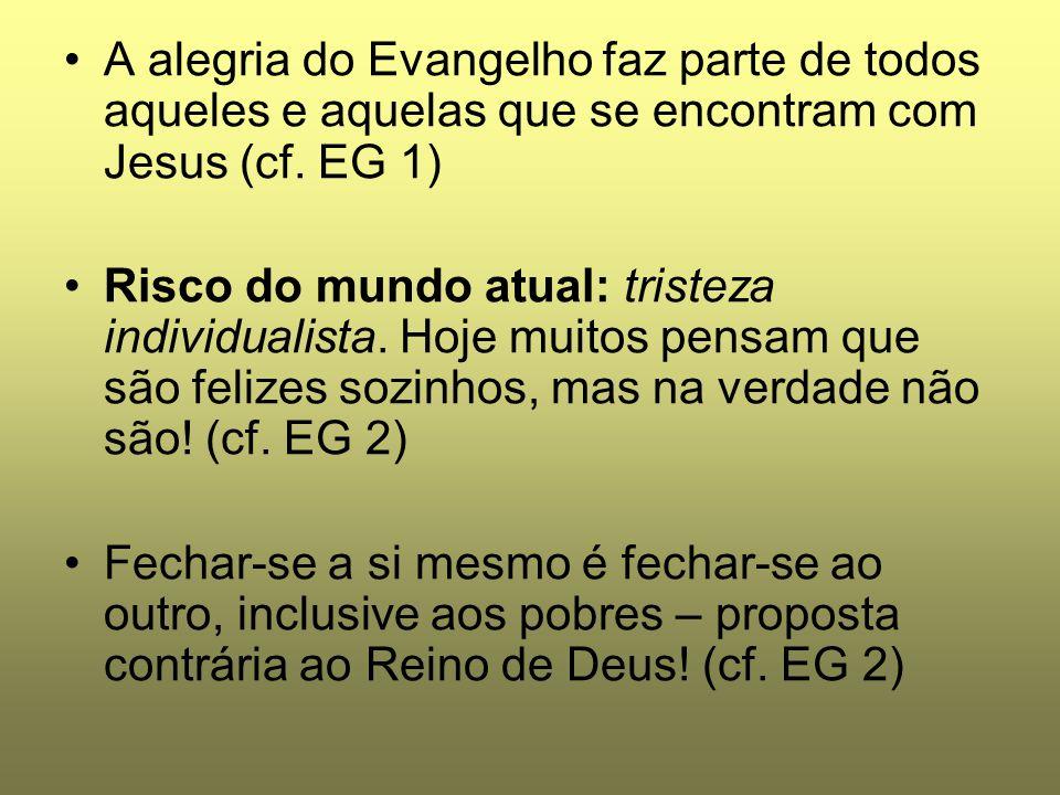 A alegria do Evangelho faz parte de todos aqueles e aquelas que se encontram com Jesus (cf. EG 1) Risco do mundo atual: tristeza individualista. Hoje