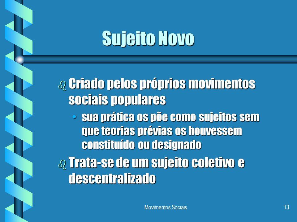 Movimentos Sociais13 Sujeito Novo b Criado pelos próprios movimentos sociais populares sua prática os põe como sujeitos sem que teorias prévias os hou