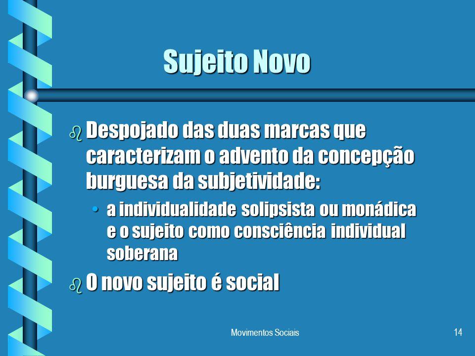 Movimentos Sociais14 Sujeito Novo b Despojado das duas marcas que caracterizam o advento da concepção burguesa da subjetividade: a individualidade sol