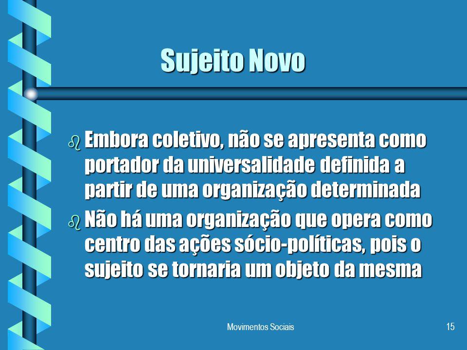 Movimentos Sociais15 Sujeito Novo b Embora coletivo, não se apresenta como portador da universalidade definida a partir de uma organização determinada