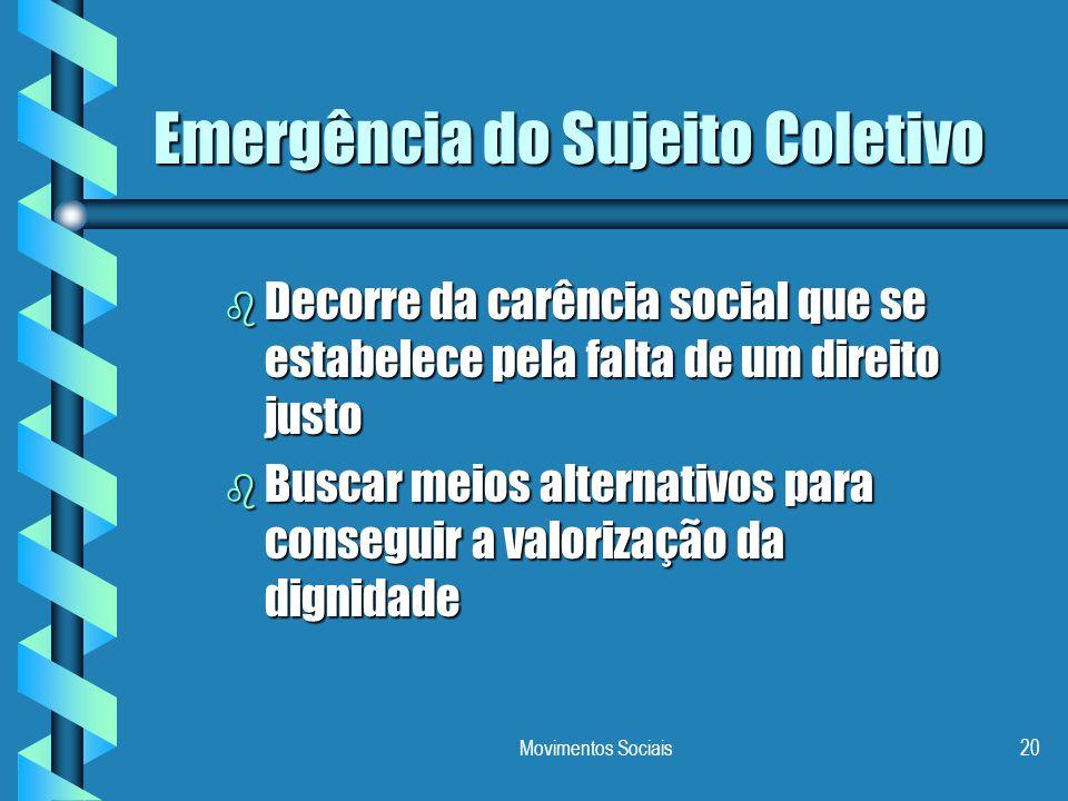 Movimentos Sociais20 Emergência do Sujeito Coletivo b Decorre da carência social que se estabelece pela falta de um direito justo b Buscar meios alter