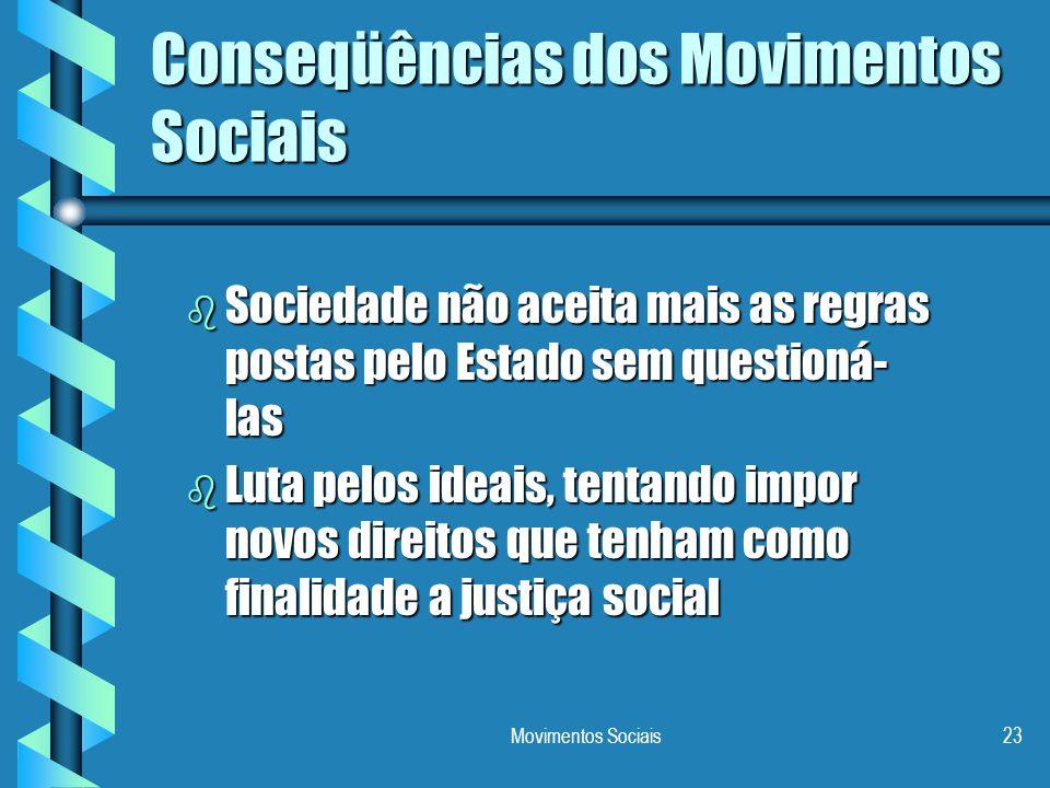 Movimentos Sociais23 Conseqüências dos Movimentos Sociais b Sociedade não aceita mais as regras postas pelo Estado sem questioná- las b Luta pelos ide