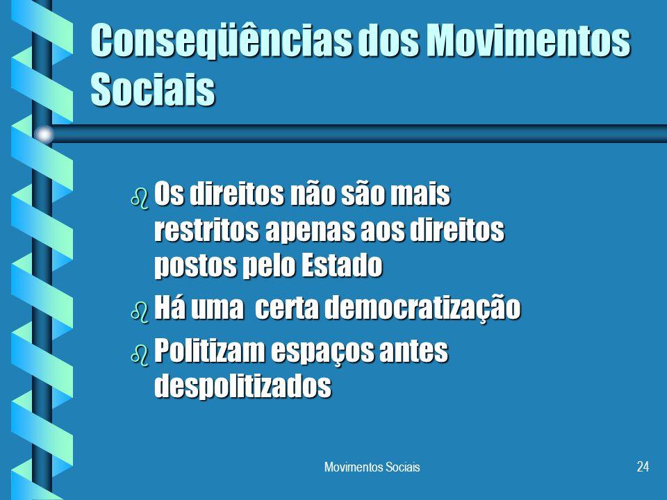 Movimentos Sociais24 Conseqüências dos Movimentos Sociais b Os direitos não são mais restritos apenas aos direitos postos pelo Estado b Há uma certa d