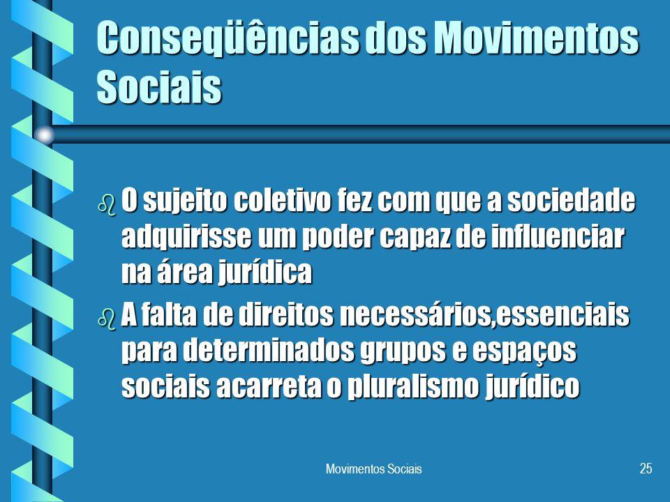 Movimentos Sociais25 Conseqüências dos Movimentos Sociais b O sujeito coletivo fez com que a sociedade adquirisse um poder capaz de influenciar na áre