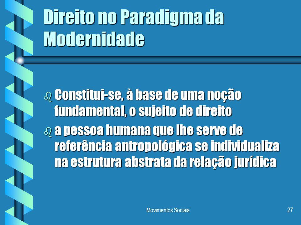 Movimentos Sociais27 Direito no Paradigma da Modernidade b Constitui-se, à base de uma noção fundamental, o sujeito de direito b a pessoa humana que l