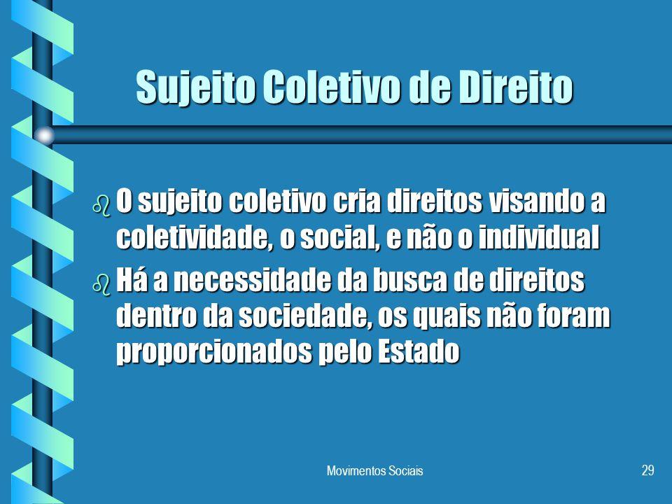 Movimentos Sociais29 Sujeito Coletivo de Direito b O sujeito coletivo cria direitos visando a coletividade, o social, e não o individual b Há a necess
