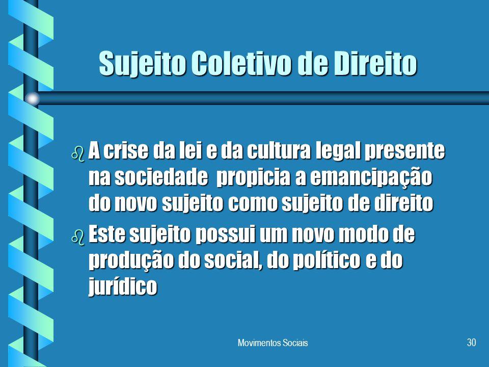 Movimentos Sociais30 Sujeito Coletivo de Direito b A crise da lei e da cultura legal presente na sociedade propicia a emancipação do novo sujeito como
