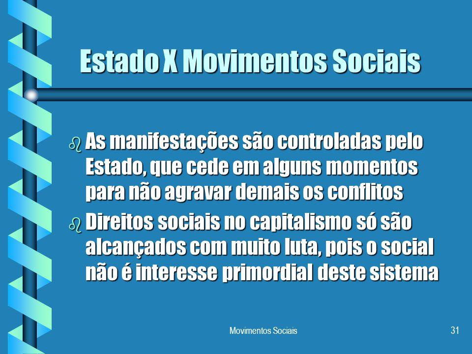Movimentos Sociais31 Estado X Movimentos Sociais b As manifestações são controladas pelo Estado, que cede em alguns momentos para não agravar demais o