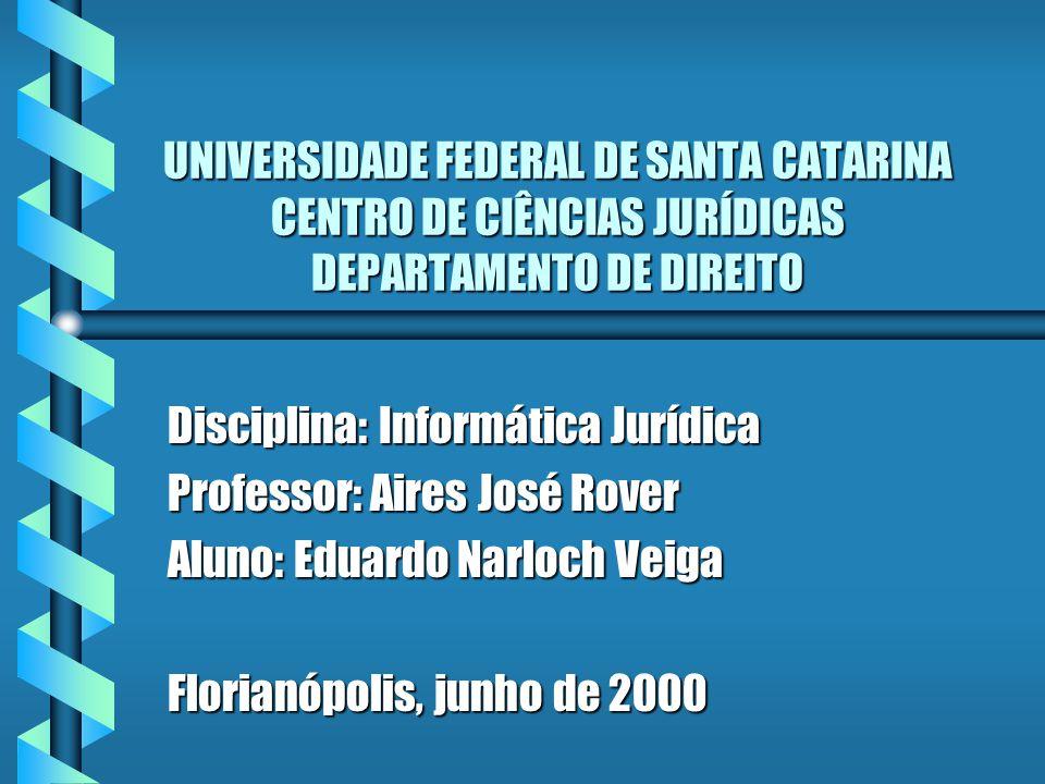 UNIVERSIDADE FEDERAL DE SANTA CATARINA CENTRO DE CIÊNCIAS JURÍDICAS DEPARTAMENTO DE DIREITO Disciplina: Informática Jurídica Professor: Aires José Rov