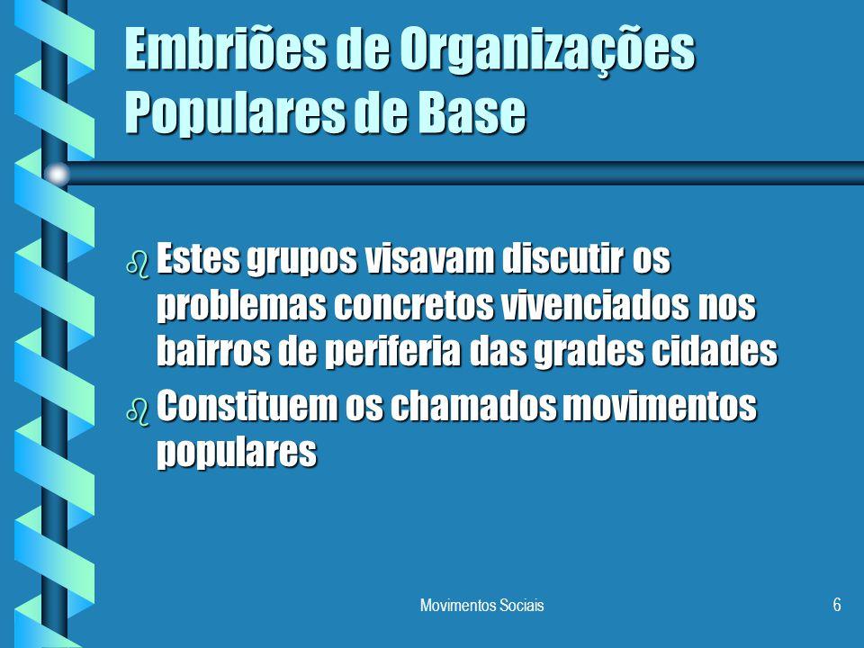 Movimentos Sociais6 Embriões de Organizações Populares de Base b Estes grupos visavam discutir os problemas concretos vivenciados nos bairros de perif