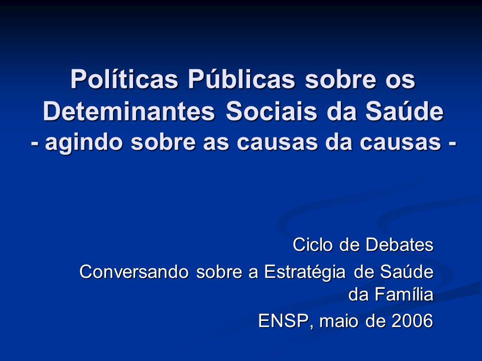 Políticas Públicas sobre os Deteminantes Sociais da Saúde - agindo sobre as causas da causas - Ciclo de Debates Conversando sobre a Estratégia de Saúd