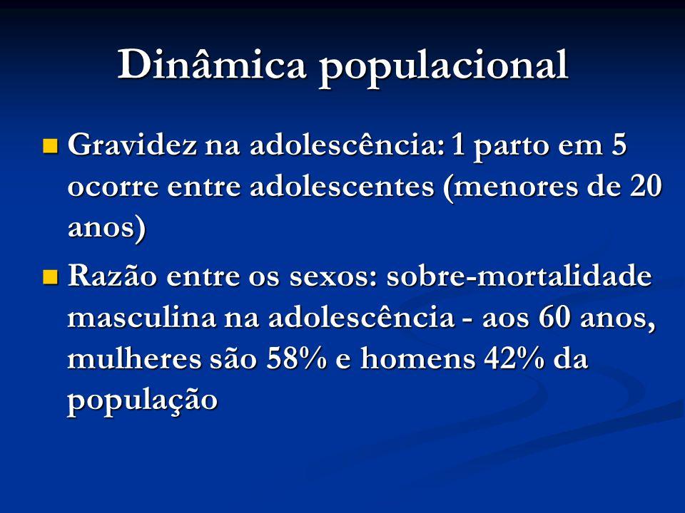 Dinâmica populacional Gravidez na adolescência: 1 parto em 5 ocorre entre adolescentes (menores de 20 anos) Gravidez na adolescência: 1 parto em 5 oco
