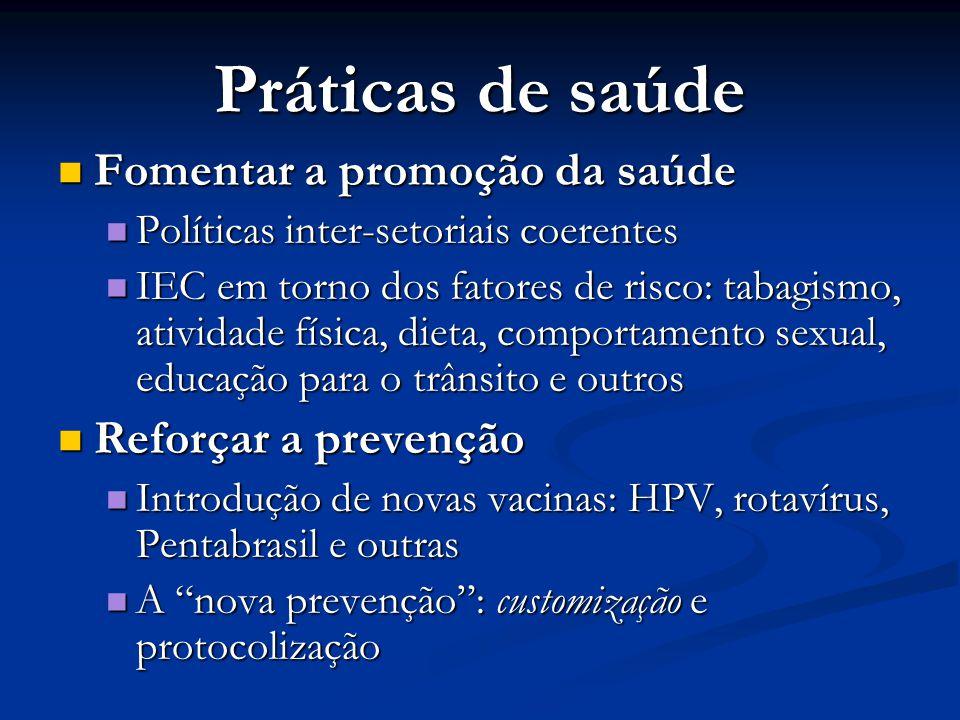 Práticas de saúde Fomentar a promoção da saúde Fomentar a promoção da saúde Políticas inter-setoriais coerentes Políticas inter-setoriais coerentes IE
