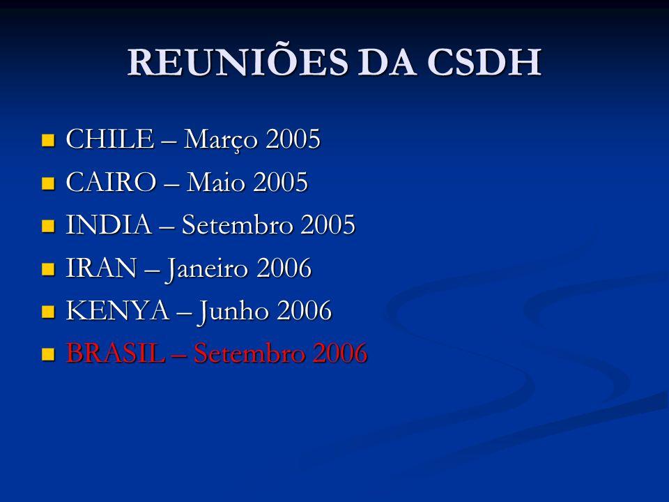 REUNIÕES DA CSDH CHILE – Março 2005 CHILE – Março 2005 CAIRO – Maio 2005 CAIRO – Maio 2005 INDIA – Setembro 2005 INDIA – Setembro 2005 IRAN – Janeiro