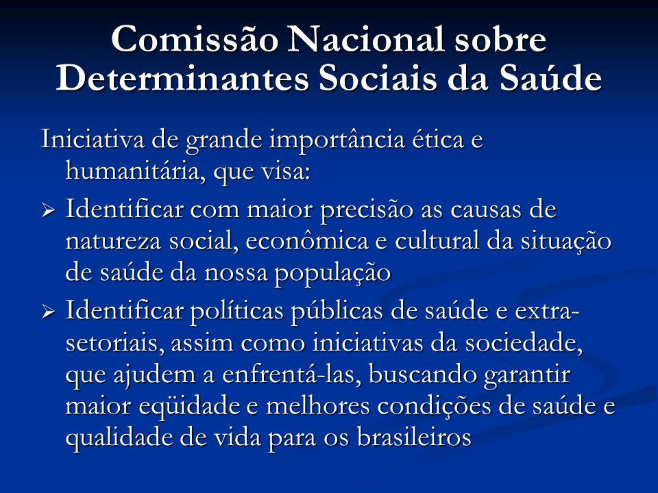 Comissão Nacional sobre Determinantes Sociais da Saúde Iniciativa de grande importância ética e humanitária, que visa:  Identificar com maior precisã