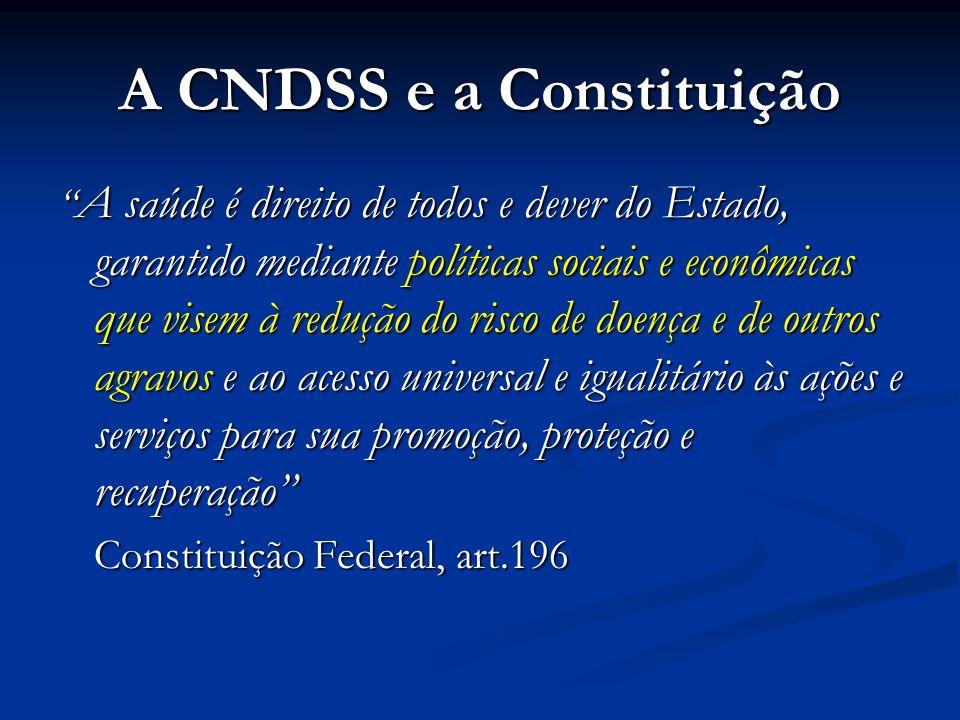 """A CNDSS e a Constituição """" A saúde é direito de todos e dever do Estado, garantido mediante políticas sociais e econômicas que visem à redução do risc"""