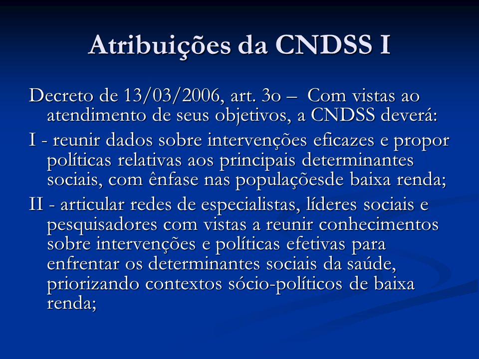 Atribuições da CNDSS I Decreto de 13/03/2006, art. 3o – Com vistas ao atendimento de seus objetivos, a CNDSS deverá: I - reunir dados sobre intervençõ