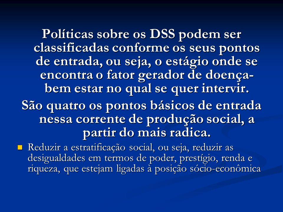 Políticas sobre os DSS podem ser classificadas conforme os seus pontos de entrada, ou seja, o estágio onde se encontra o fator gerador de doença- bem