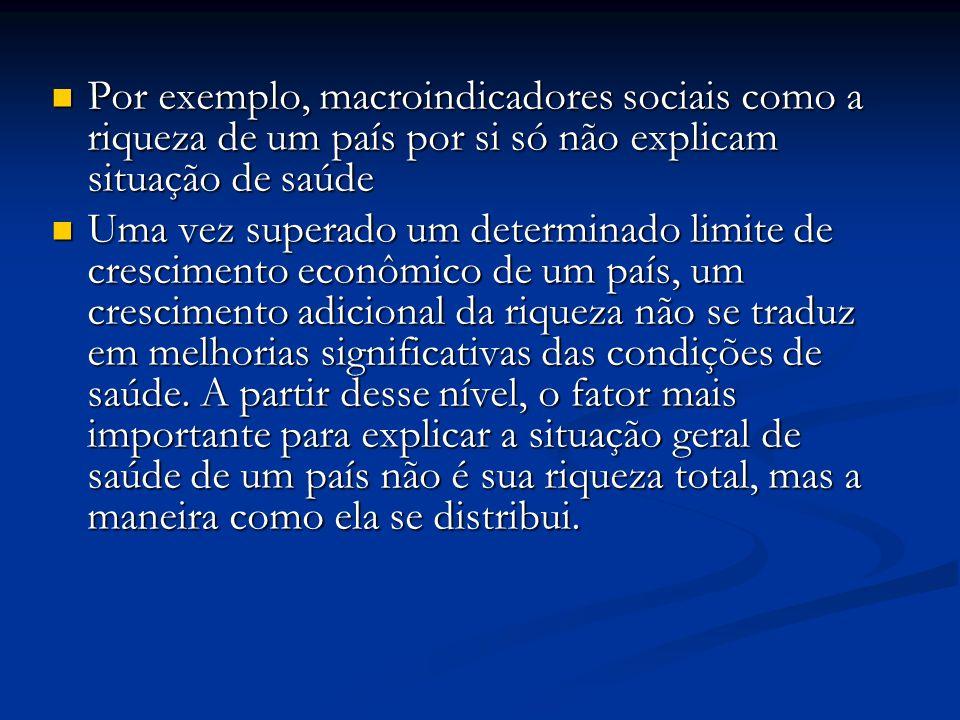 Por exemplo, macroindicadores sociais como a riqueza de um país por si só não explicam situação de saúde Por exemplo, macroindicadores sociais como a