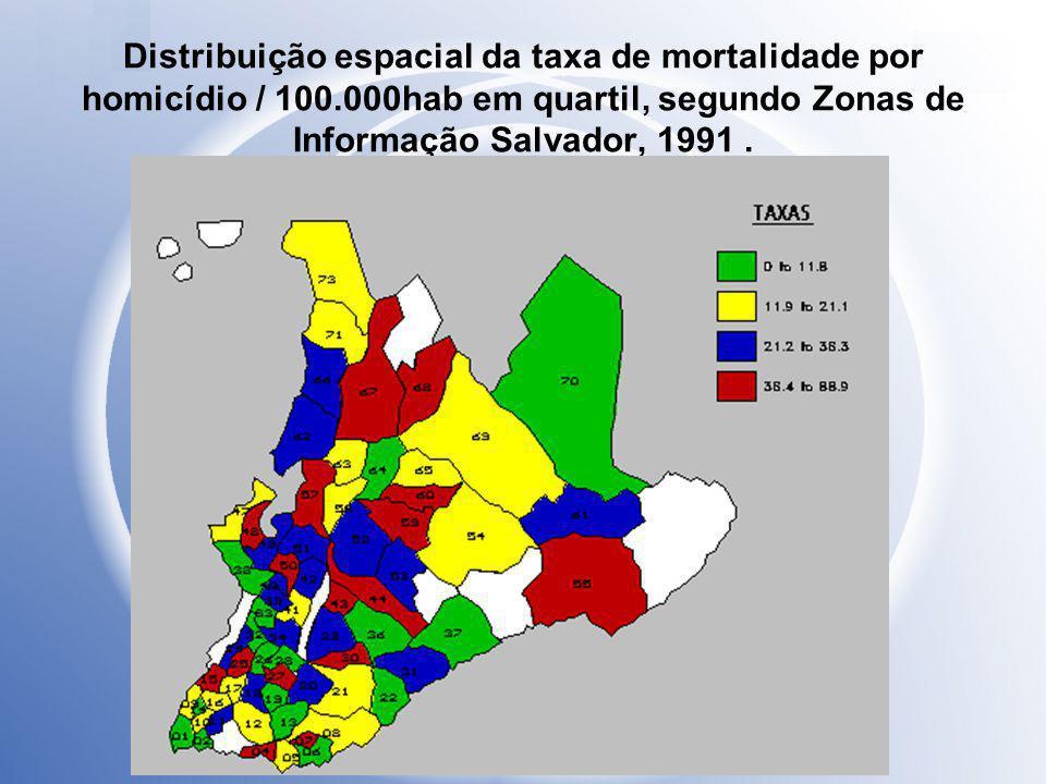 Distribuição espacial da taxa de mortalidade por homicídio / 100.000hab em quartil, segundo Zonas de Informação Salvador, 1991.