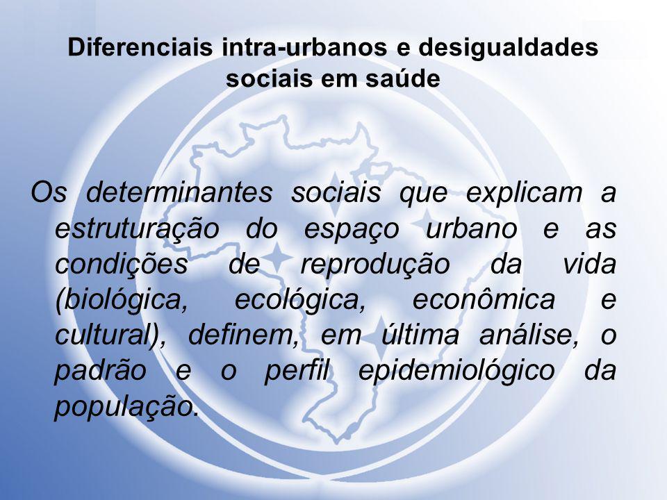 Diferenciais intra-urbanos e desigualdades sociais em saúde Os determinantes sociais que explicam a estruturação do espaço urbano e as condições de re