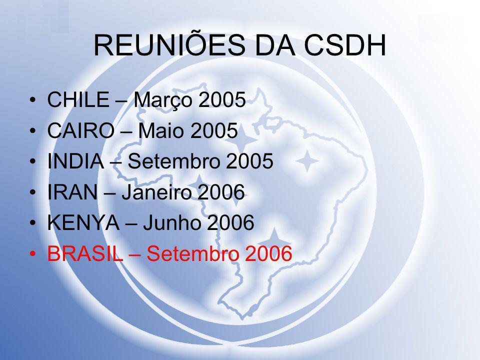 REUNIÕES DA CSDH CHILE – Março 2005 CAIRO – Maio 2005 INDIA – Setembro 2005 IRAN – Janeiro 2006 KENYA – Junho 2006 BRASIL – Setembro 2006