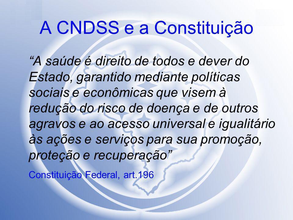 """A CNDSS e a Constituição """"A saúde é direito de todos e dever do Estado, garantido mediante políticas sociais e econômicas que visem à redução do risco"""