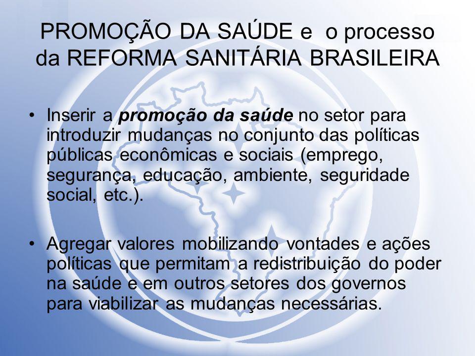 PROMOÇÃO DA SAÚDE e o processo da REFORMA SANITÁRIA BRASILEIRA Inserir a promoção da saúde no setor para introduzir mudanças no conjunto das políticas