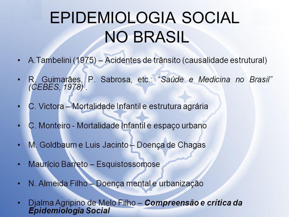 "EPIDEMIOLOGIA SOCIAL NO BRASIL A.Tambelini (1975) – Acidentes de trânsito (causalidade estrutural) R. Guimarães, P. Sabrosa, etc.: ""Saúde e Medicina n"
