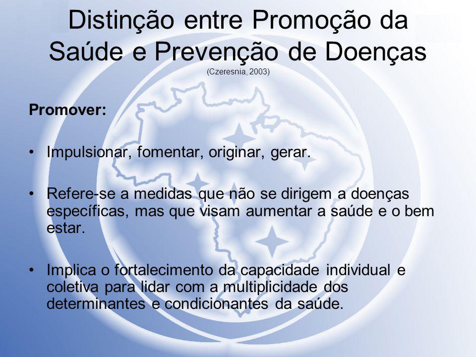 Distinção entre Promoção da Saúde e Prevenção de Doenças (Czeresnia, 2003) Promover: Impulsionar, fomentar, originar, gerar. Refere-se a medidas que n