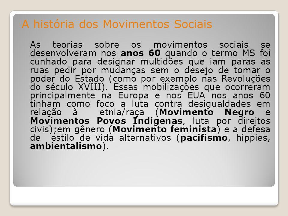 A história dos Movimentos Sociais As teorias sobre os movimentos sociais se desenvolveram nos anos 60 quando o termo MS foi cunhado para designar mult