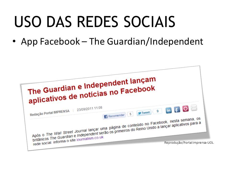App Facebook – The Guardian/Independent USO DAS REDES SOCIAIS Reprodução/Portal Imprensa-UOL