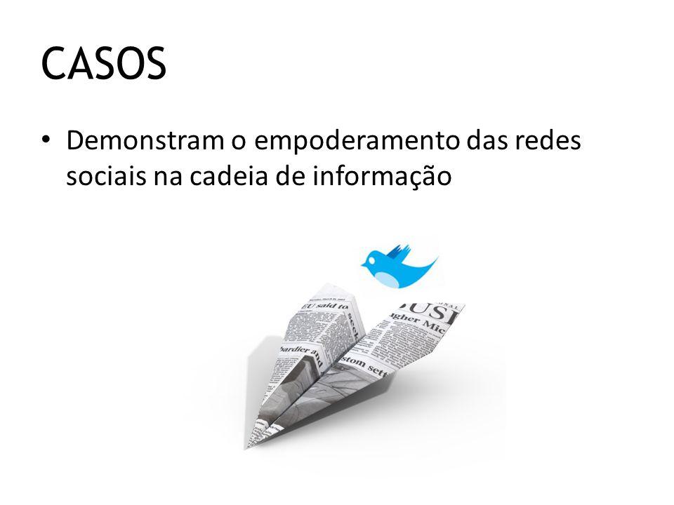 Demonstram o empoderamento das redes sociais na cadeia de informação CASOS