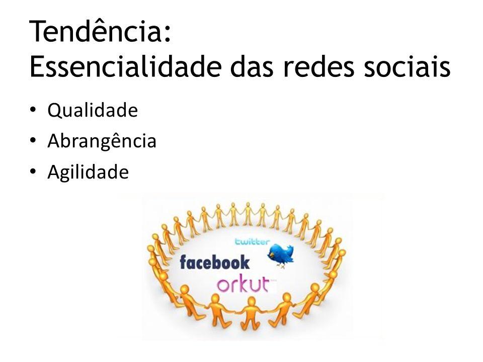 Qualidade Abrangência Agilidade Tendência: Essencialidade das redes sociais