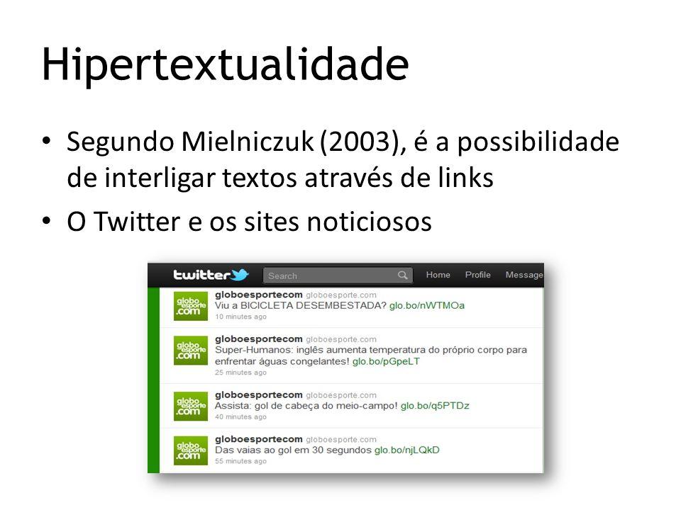 Hipertextualidade Segundo Mielniczuk (2003), é a possibilidade de interligar textos através de links O Twitter e os sites noticiosos