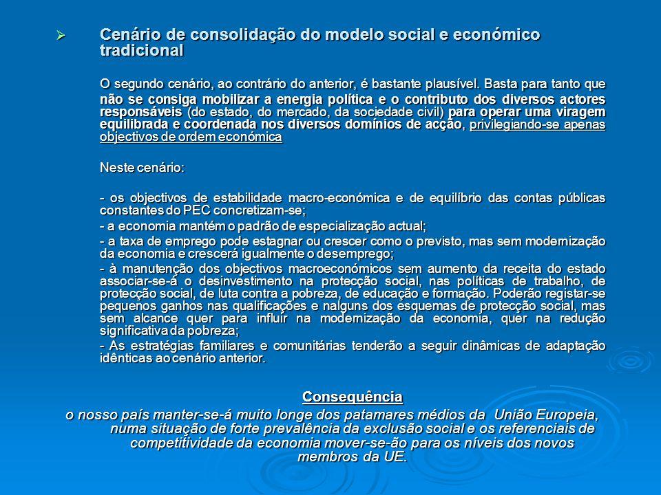  Cenário de consolidação do modelo social e económico tradicional O segundo cenário, ao contrário do anterior, é bastante plausível.