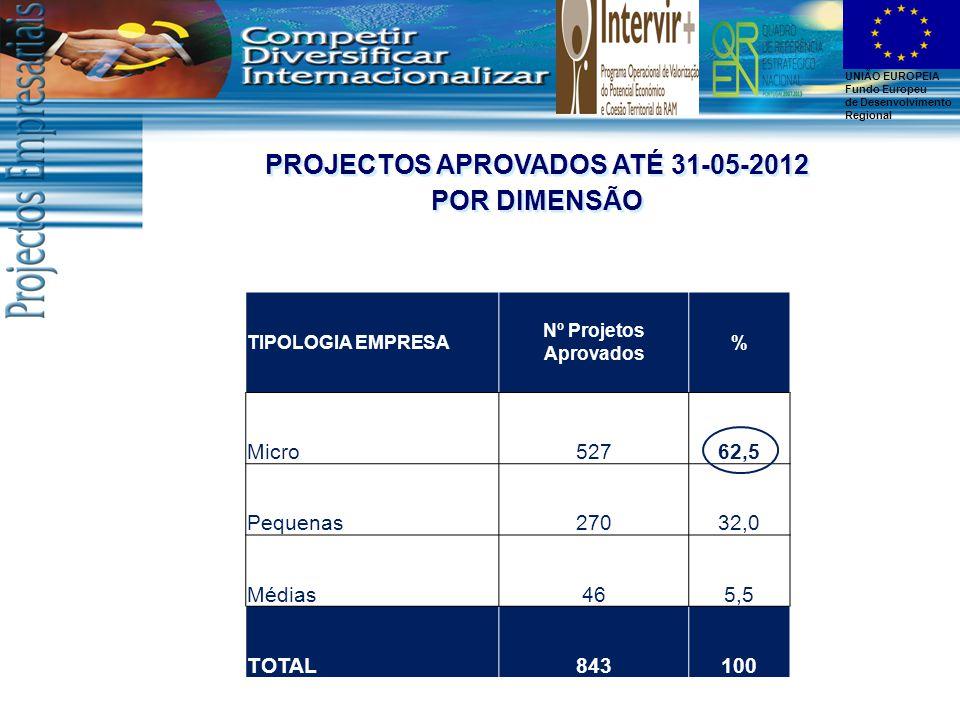 UNIÃO EUROPEIA Fundo Europeu de Desenvolvimento Regional TIPOLOGIA EMPRESA Nº Projetos Aprovados % Micro52762,5 Pequenas27032,0 Médias465,5 TOTAL843100 PROJECTOS APROVADOS ATÉ 31-05-2012 POR DIMENSÃO PROJECTOS APROVADOS ATÉ 31-05-2012 POR DIMENSÃO