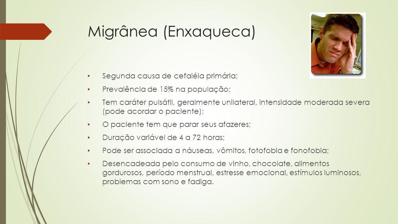 Tipos de Migrânea  Enxaqueca sem aura – forma mais comum (80% dos casos)  Enxaqueca com aura – forma clássica (20% dos casos) : - Sinais e sintomas neurológicos focais que precedem a crise; - Aura pode ser representada por: escotomas sintilantes (fosfenas); parestesias periorais ou dimidiadas; hipoestesias ou paresias dimidiadas; vertigem mais diplopia e hemiplegia.