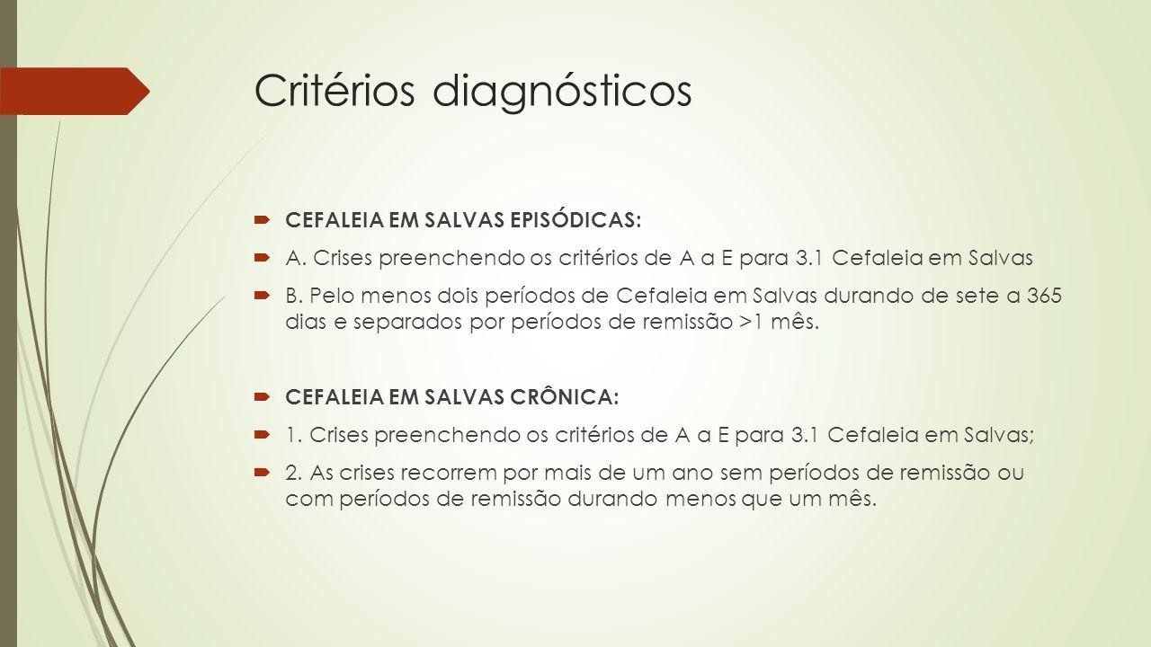 Tratamento  CRISE AGUDA:  Oxigenoterapia: máscara fascial com 10-12L/min O2 por 15-20 min ou;  Sumatriptano 6mg subcutâneo.