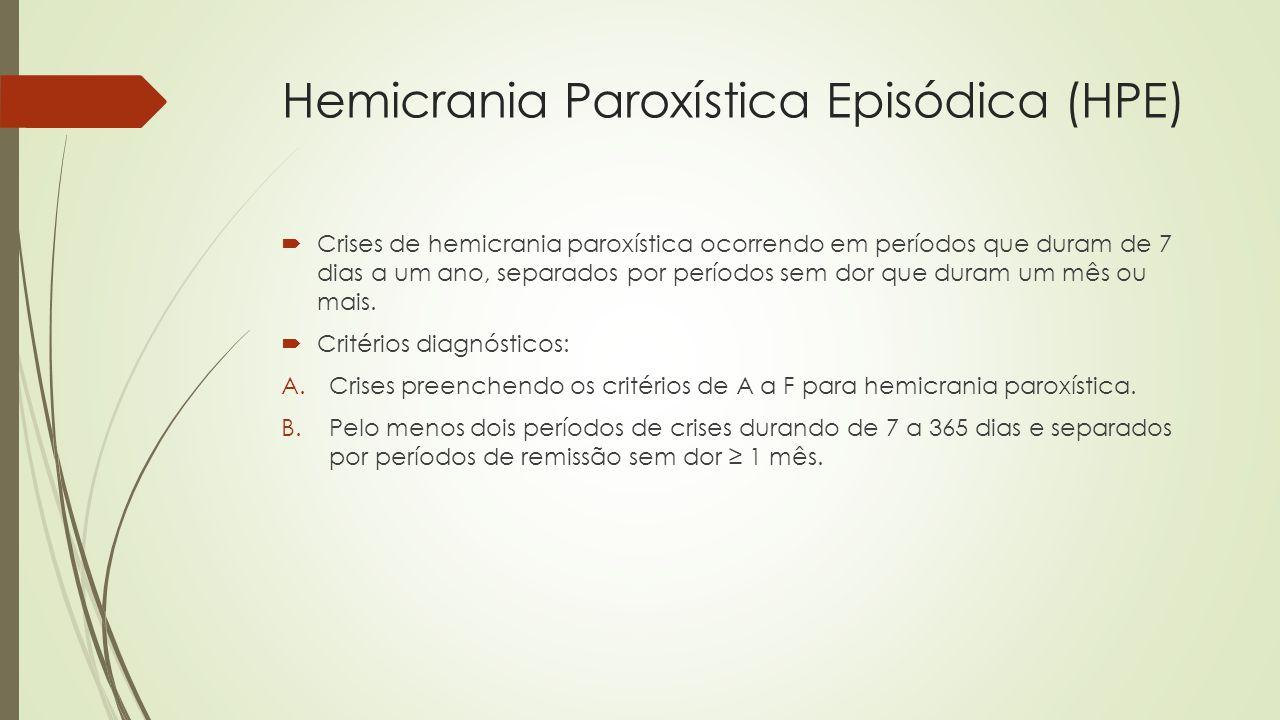 Hemicrania Paroxística Crônica (HPC)  Crises de hemicrania paroxística ocorrendo por mais de um ano sem remissão ou com remissões durando menos de um mês.