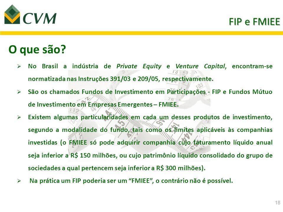 Fundos de Investimento em Participações - FIP Fundo de Investimento destinado a aquisição preponderante (90% do PL) de alguns valores mobiliários emitidos por companhias abertas ou fechadas  Só pode ser constituído sob a forma de condomínio fechado (não admite resgate de cotas).