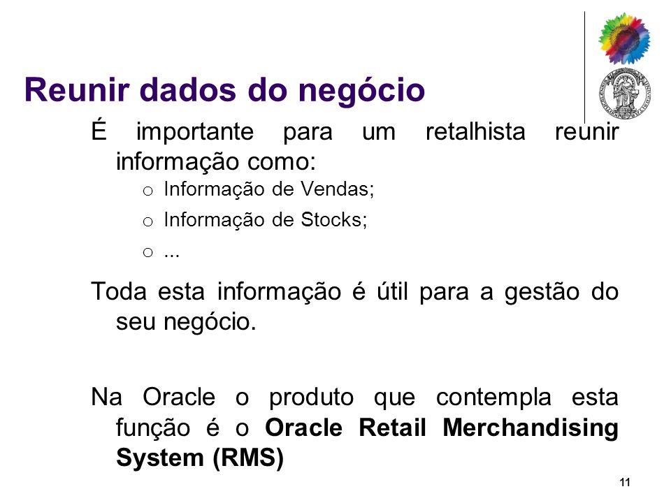 Reunir dados do negócio É importante para um retalhista reunir informação como: o Informação de Vendas; o Informação de Stocks; o... Toda esta informa