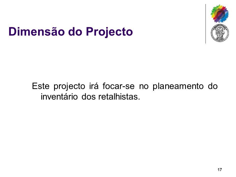 Dimensão do Projecto Este projecto irá focar-se no planeamento do inventário dos retalhistas. 17