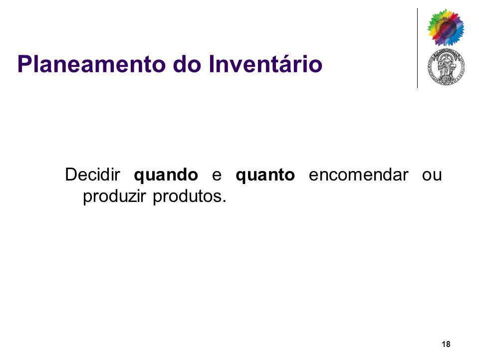 Planeamento do Inventário Decidir quando e quanto encomendar ou produzir produtos. 18