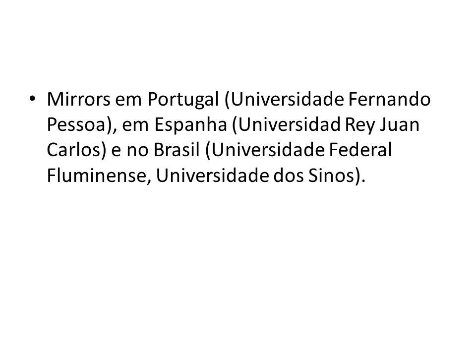 Mirrors em Portugal (Universidade Fernando Pessoa), em Espanha (Universidad Rey Juan Carlos) e no Brasil (Universidade Federal Fluminense, Universidade dos Sinos).