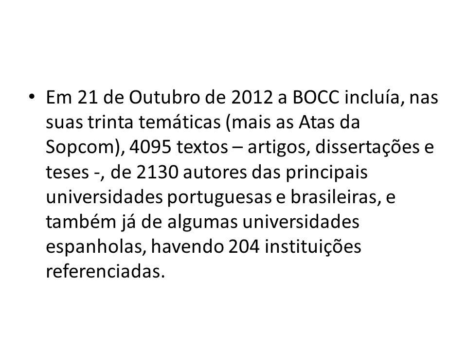 Em 21 de Outubro de 2012 a BOCC incluía, nas suas trinta temáticas (mais as Atas da Sopcom), 4095 textos – artigos, dissertações e teses -, de 2130 autores das principais universidades portuguesas e brasileiras, e também já de algumas universidades espanholas, havendo 204 instituições referenciadas.