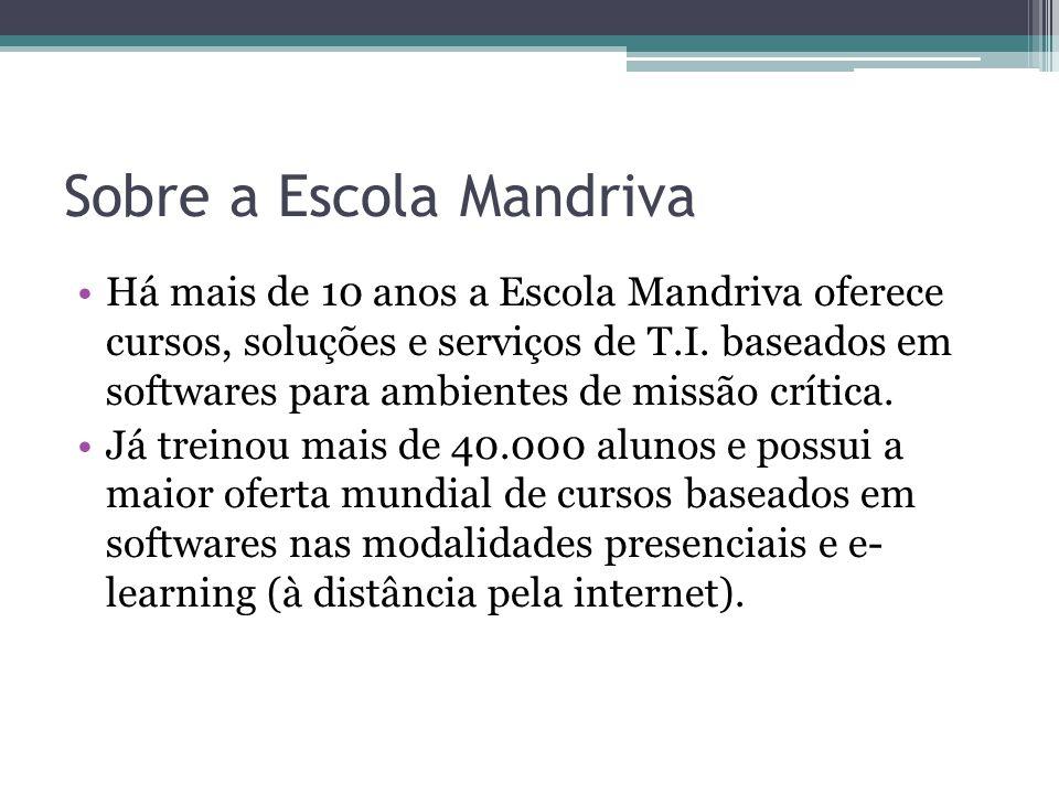 Sobre a Escola Mandriva Há mais de 10 anos a Escola Mandriva oferece cursos, soluções e serviços de T.I.