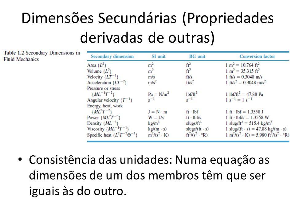 Dimensões Secundárias (Propriedades derivadas de outras) Consistência das unidades: Numa equação as dimensões de um dos membros têm que ser iguais às